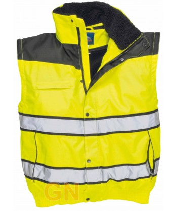 Cazadora piloto bicolor negro/amarillo alta visibilidad con forro y mangas desmontables