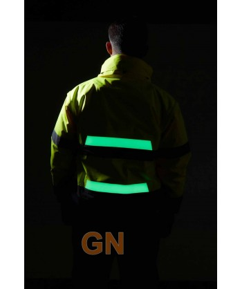 Cazadora desmontable alta visibilidad con cintas fluorescentes
