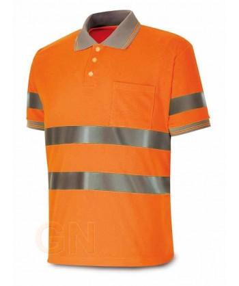 Polo bicapa alta visibilidad manga corta naranja alta visibilidad