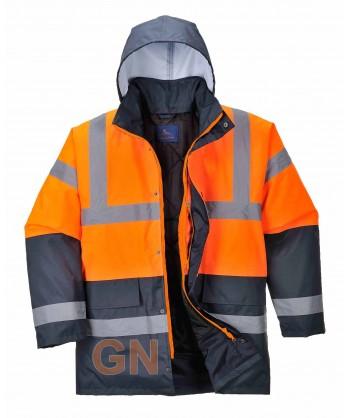 Parka acolchada bicolor marino/naranja alta visibilidad para frío intenso