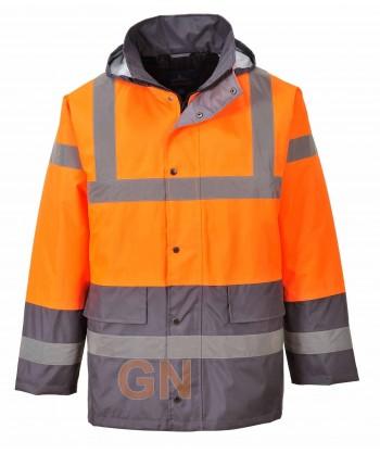 Parka acolchada bicolor gris/naranja alta visibilidad para frío intenso