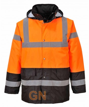 Parka acolchada bicolor negro/naranja alta visibilidad para frío intenso