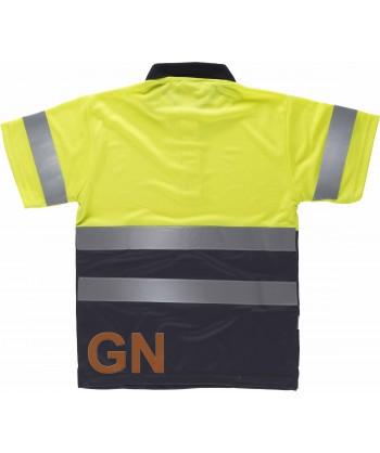Polo bicolor transpirable manga corta alta visibilidad en color amarillo flúor y marino