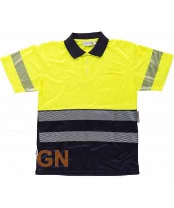 Polo bicolor con cintas segmentadas Marino/amarillo alta visibilidad