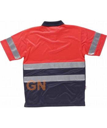 Polo de manga corta en alta visibilidad combinado marino/rojo alta visibilidad