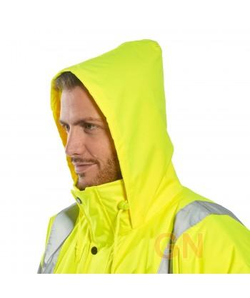 Parka acolchada e impermeable monocolor amarilla alta visibilidad altamente transpirable