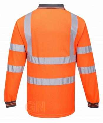 Polo bicolor alta visibilidad, manga larga, transpirable