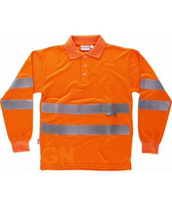 Polo monocolor, manga larga, naranja alta visibilidad