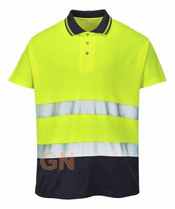 Polo bicolor alta visibilidad color amarillo flúor/marino