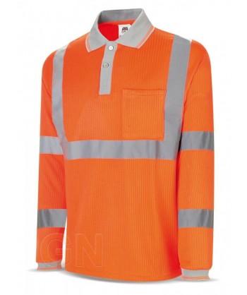Polo bicapa alta visibilidad manga larga naranja alta visibilidad