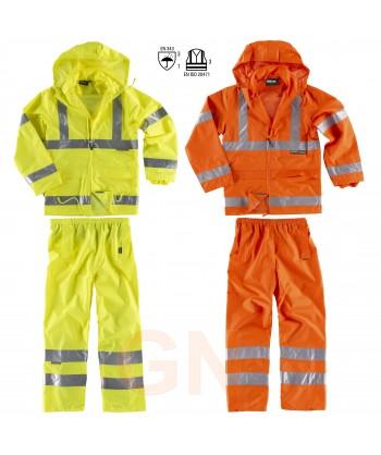 Traje de agua o lluvia alta visibilidad amarillo y naranja alta visibilidad