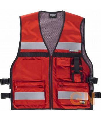 Chaleco paramédico rojo con cintas reflectantes