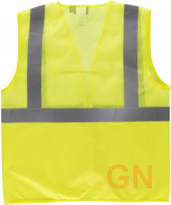 Chaleco alta visibilidad con la mitad de rejilla transpirable amarillo flúor
