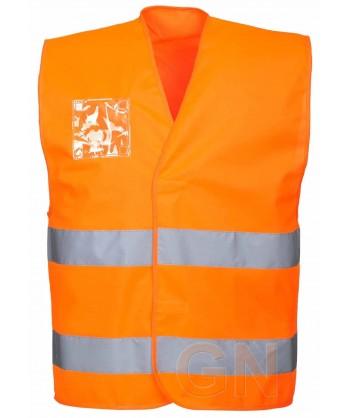 Chaleco naranja alta visibilidad con porta identificación