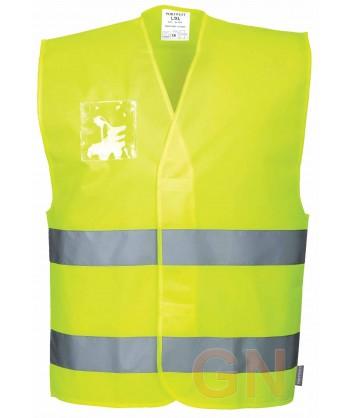 Chaleco amarillo alta visibilidad con porta identificación