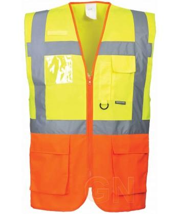 Chaleco bicolor multibolsillos amarillo y naranja alta visibilidad