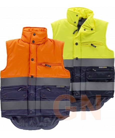 Chaleco bicolor acolchado multibolsillos de alta visibilidad