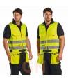 Chaleco amarillo alta visibilidad porta herramientas