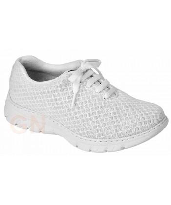 Zapato sanitario antideslizante y transpirable con cordones
