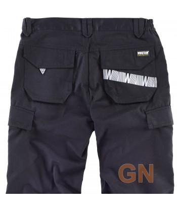 Pantalón multibolsillos negro con cintas reflectantes segmentadas