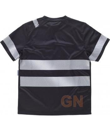 Camiseta negra de manga corta con cintas reflectantes segmentadas
