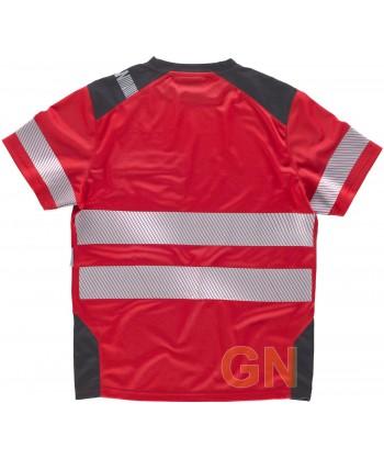 Camiseta transpirable de manga corta color rojo y gris con cintas reflectantes segmentadas