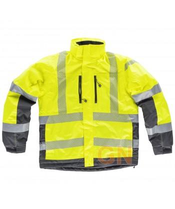 Parka acolchada e impermeable en alta visibilidad color amarillo flúor y gris con cintas segmentadas
