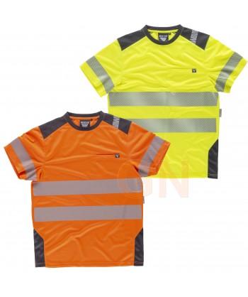 Camiseta técnica manga corta con cintas reflectantes segmentadas amarillo flúor gris