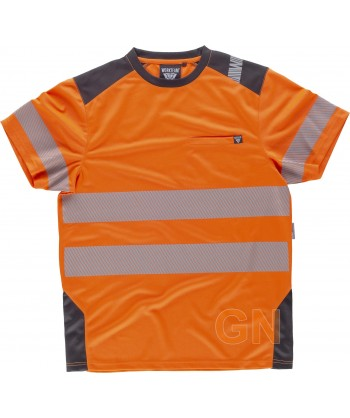 Camiseta técnica manga corta con cintas reflectantes segmentadas naranja flúor gris