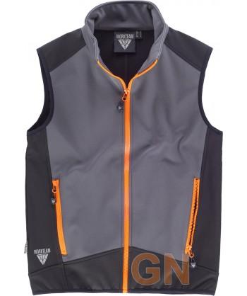 Chaleco deportivo bicolor en tejido softshell gris/negro