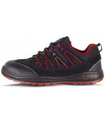 Zapato deportivo tipo trekking de seguridad Negro/rojo