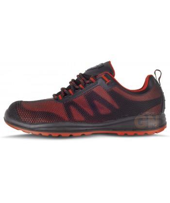 Zapato deportivo tipo trekking de seguridad no metálico rojo/negro