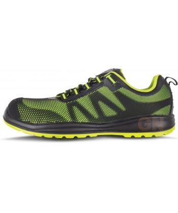 Zapato deportivo tipo trekking de seguridad no metálico verde lima/negro