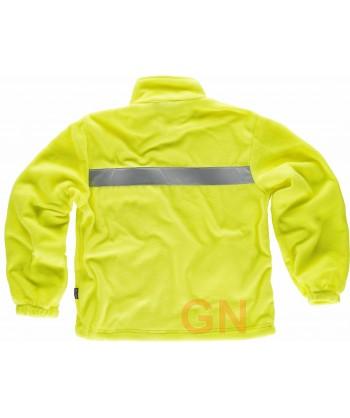 Chaqueta polar económica con cintas reflectantes y tejido amarillo alta visibilidad
