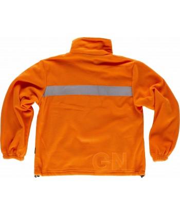 Chaqueta polar económica con cintas reflectantes y tejido naranja alta visibilidad