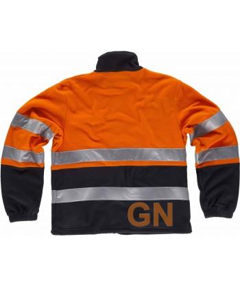 Chaqueta polar bicolor de alta visibilidad color naranja flúor y marino