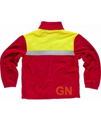 Chaqueta bicolor de forro polar con cintas reflectantes color rojo y amarillo alta visibilidad