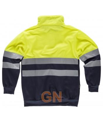 Sudadera alta visibilidad bicolor con cierre velcro color amarillo flúor y marino