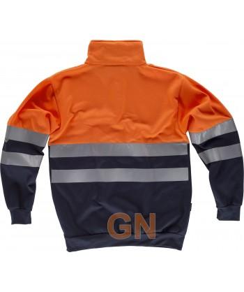 Sudadera alta visibilidad bicolor con cierre velcro color naranja flúor y marino