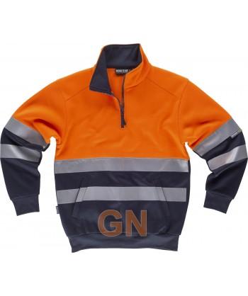 Sudadera bicolor de alta visibilidad con media cremallera color naranja flúor/marino