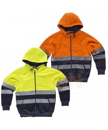 Chaqueta sudadera con capucha, bicolor de alta visibilidad