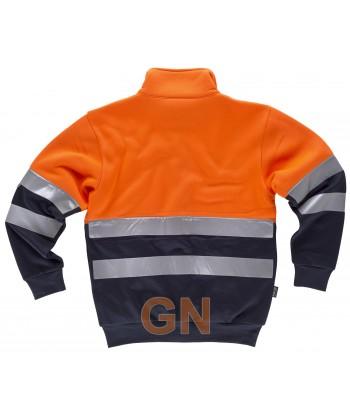 Chaqueta sudadera bicolor de alta visibilidad marino/naranja