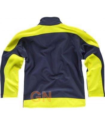 Softshell bicolor marino/amarillo alta visibilidad