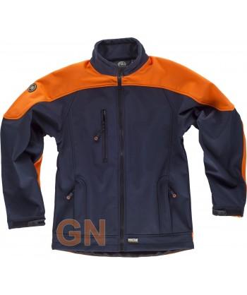Softshell bicolor marino/naranja alta visibilidad