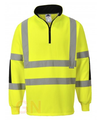 Sudadera de media cremallera alta amarillo alta visibilidad/negro. Portwest B308
