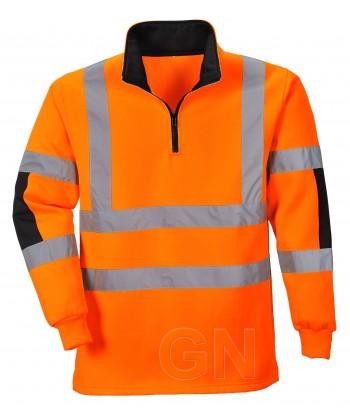 Sudadera de media cremallera alta naranja alta visibilidad/negro. Portwest B308