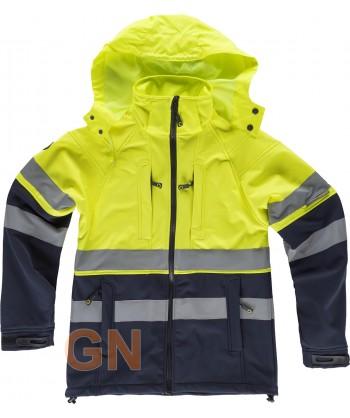 Softshell alta visibilidad con capucha color amarillo flúor y marino