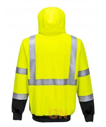 Sudadera alta visibilidad con capucha color amarillo/negro