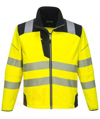 Softshell bicolor en alta visibilidad con triple capa color amarillo flúor/negro