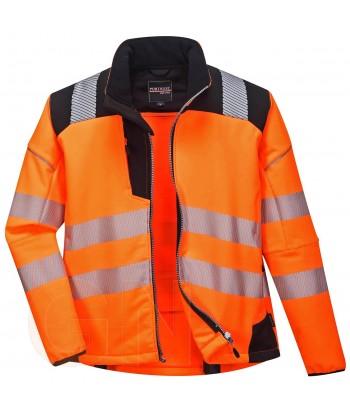 Softshell bicolor en alta visibilidad con triple capa color naranja flúor/negro